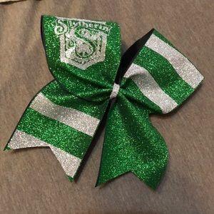 Glittery Slytherin Cheer Bow